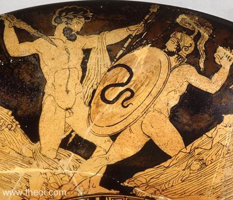 Zeus battling the giant Porphyrion | Greek vase, Athenian red figure kylix